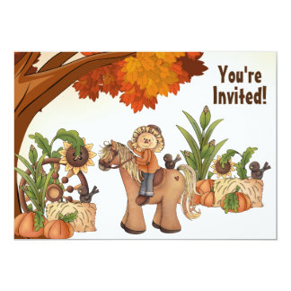 Pony and Scarecrow Fall Horse Birthday Invitation