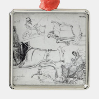 Pony and Traps on Francis Street, London, 1835 Christmas Ornament