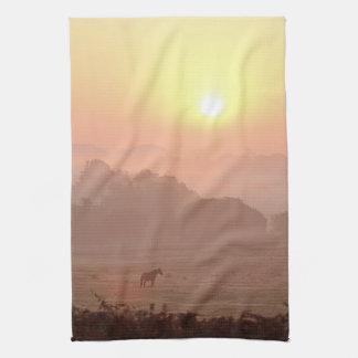 Pony-at-sunrise tea towel