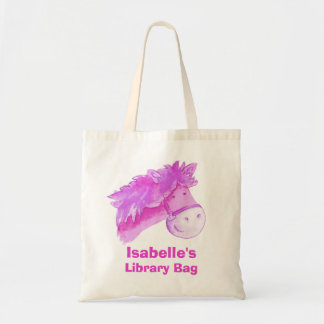 Pony bag purple & cream tote library bag