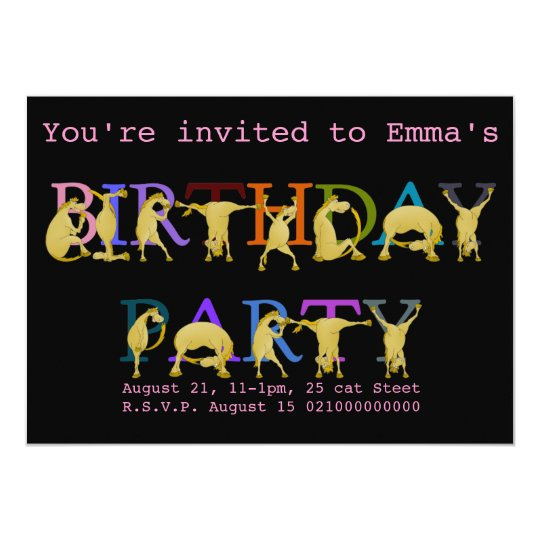 Pony Birthday party invitation, bright coloured Card