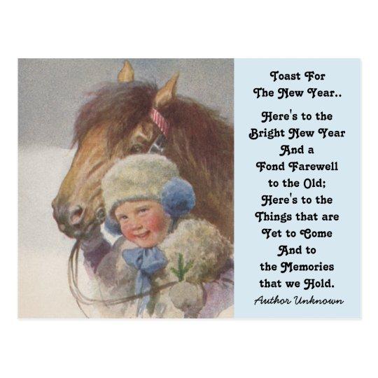 Pony Childhood Memory New Year's Toast Postcards