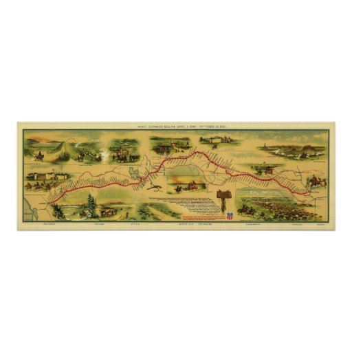 Pony Express Map by William Henry Jackson 1861 Print