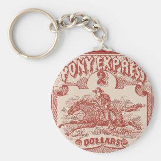 Pony Express Vintage Stamp Basic Round Button Key Ring
