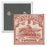 Pony Express Vintage Stamp Button