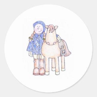 Pony Girl Round Sticker