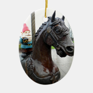 Pony Gnome Double-Sided Oval Ceramic Christmas Ornament