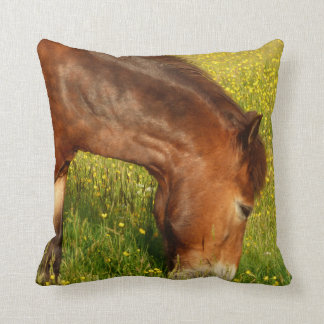 Pony in Buttercup meadow Cushion