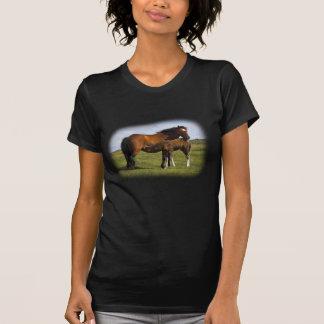 Pony Mare Feeding Foal ladies petite t-shirt