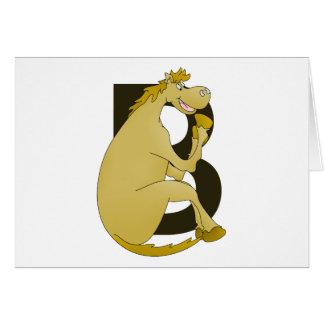 Pony Monogram Letter B Card
