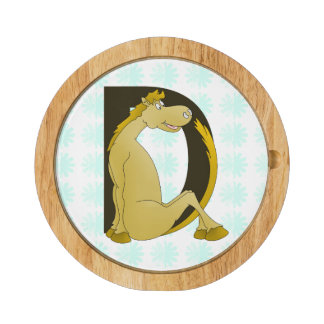 Pony Monogram Letter D Round Cheese Board