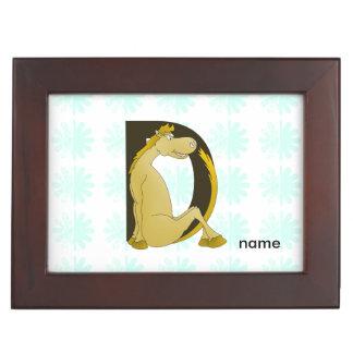 Pony Monogram Letter D Keepsake Box
