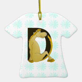 Pony Monogram Letter D Personalized Double-Sided T-Shirt Ceramic Christmas Ornament