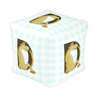 Pony Monogram Letter D Personalized Cube Pouf