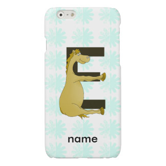 Pony Monogram Letter E Personalized Glossy iPhone 6 Case