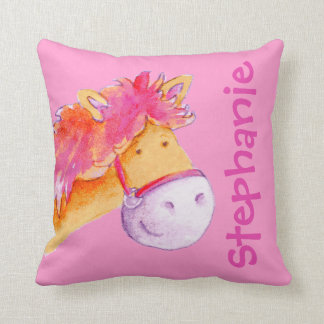 Pony name & birth newborn gift orange pink pillow