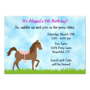 Pony party invitations announcements zazzle uk pony party birthday invitation for girls stopboris Image collections