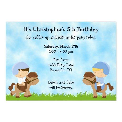 Pony Party Birthday Invitations for Boys