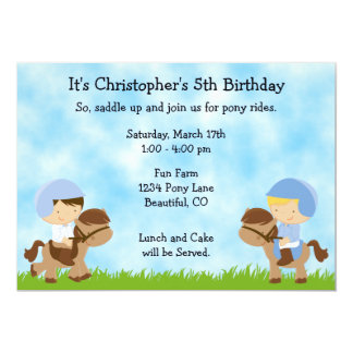 Pony Party Birthday Invitations for Boys