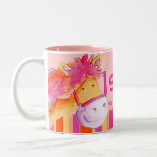 Pony pink champion horse rider names girls mug