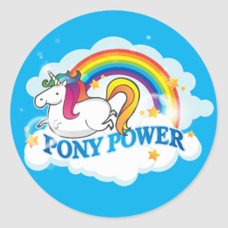 Pony Power Unicorn Classic Round Sticker