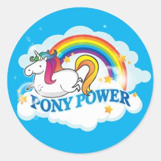 Pony Power Unicorn Classic Round Sticker