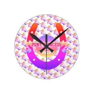 Pony Princess Round Clock