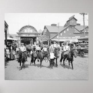 Pony Riders at Coney Island, 1904. Vintage Photo Poster
