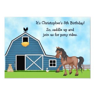 Pony Rides Horseback Riding Boys Birthday Invite