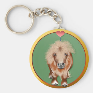 PONY-with a heart Basic Round Button Key Ring