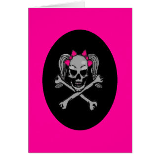 Ponytail skull decal pink card