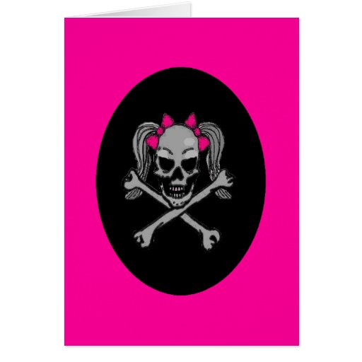 Ponytail skull decal pink greeting cards