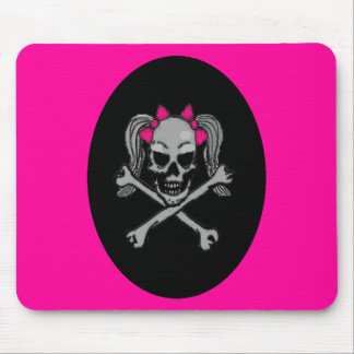 Ponytail skull decal pink mouse mat