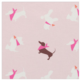 Pooches In Pink Rose Bud Fabric