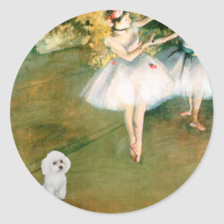 Poodle (11W) - Two Dancers Round Stickers