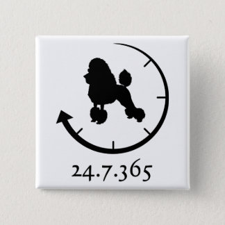 Poodle 15 Cm Square Badge