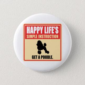 Poodle 6 Cm Round Badge