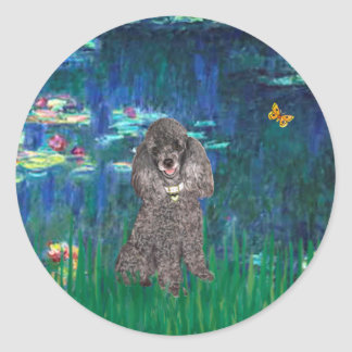 Poodle (8S) - Lilies 5 Round Sticker