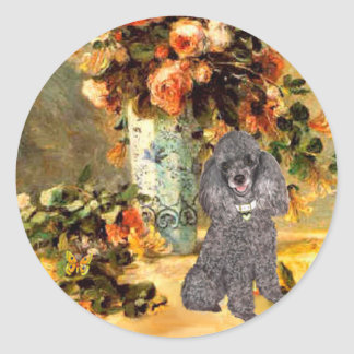 Poodle (8S) - Vase of Flowers Round Sticker