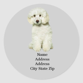 Poodle Address Label Classic Round Sticker