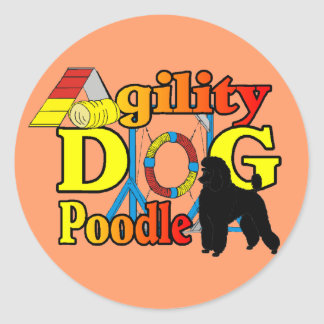 Poodle Agility Gifts Round Sticker
