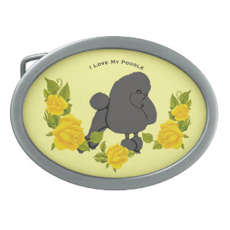 Poodle and Yellow Roses Oval Belt Buckles