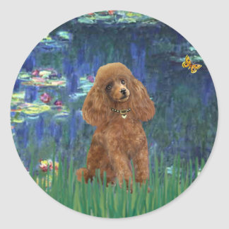 Poodle (Apricot 10) - Lilies 5 Classic Round Sticker