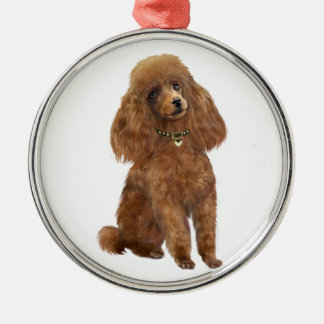 Poodle - Apricot Silver-Colored Round Decoration