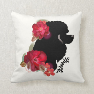 Poodle art pillow | red floral silhouette dog art