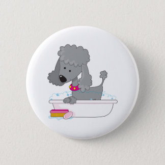 Poodle Bath 6 Cm Round Badge