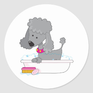 Poodle Bath Classic Round Sticker