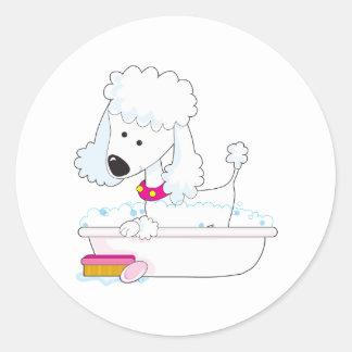 Poodle Bath Round Sticker
