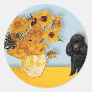 Poodle (Black1) - Sunflowers Round Sticker