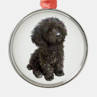 Poodle - black toy pup christmas ornament